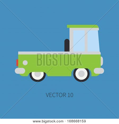 Plain flat vector color icon service staff car. Commercial vehicle. Cartoon vintage style. Cargo transportation. Pickup rural truck. Tow auto. Simple. Childly. Illustration and element for design.