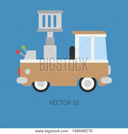 Plain flat vector color icon service staff car with hydraulic lift. Commercial vehicle. Cartoon vintage style. Cargo transportation. Maintenance. Tow auto. Road. Illustration and element for design.