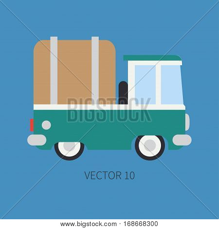 Plain flat vector color icon service staff car. Commercial vehicle. Cartoon vintage style. Cargo transportation. Pickup rural truck. Awning capacity auto. Road. Illustration and element for design.
