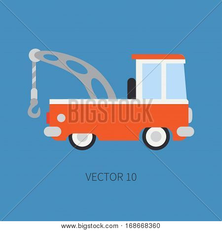 Plain flat vector color icon service staff car with hydraulic crane. Commercial vehicle. Cartoon style. Cargo transportation. Hoist. Maintenance tow auto. Road Illustration and element for design.