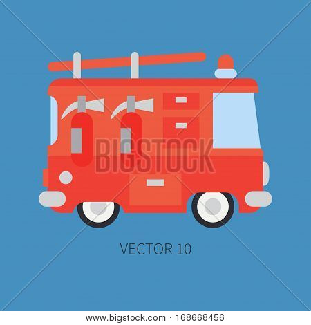 Plain flat vector color icon fire truck. Emergency assistance vehicle. Cartoon style. Fireman. Maintenance. Rescue. Fire department. Extinguisher. Siren. Road. Illustration and element for design