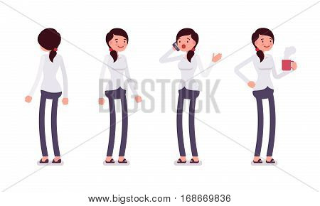 Set of young smiling female busy clerk in formal wear, standing poses, talking on phone in trouble, holding hot coffee mug, full length, front and rear view isolated against white background