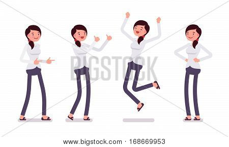 Set of young happy female clerk in formal wear, showing positive emotions, successful worker, jumping with joy, professional manager, full length, front view isolated against white background