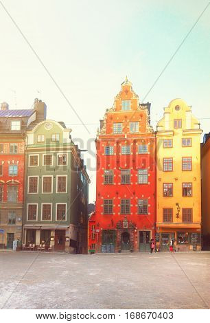 view of Gamla Stan old square, Stockholm, Sweden, retro toned