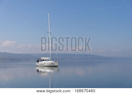 VARNA, BULGARIA - MARCH 03, 2014: One of the sponsors of the national sailing boat race