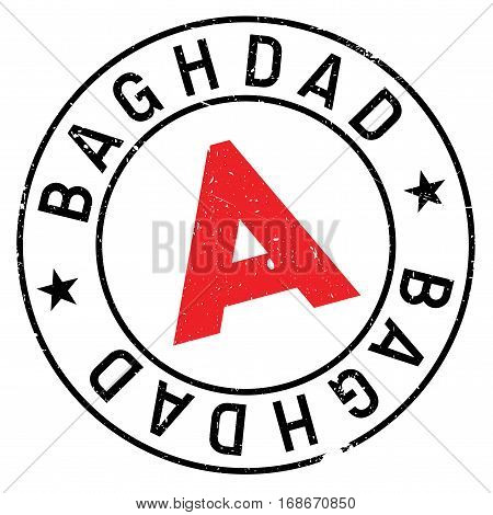 Baghdad stamp. Grunge design with dust scratches. Effects can be easily removed for a clean, crisp look. Color is easily changed.