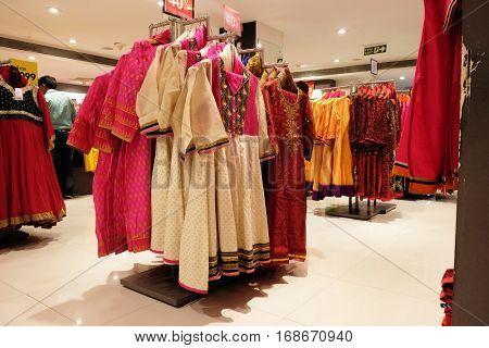 KOLKATA, INDIA - FEBRUARY 09: Indian garment shop in New Market area, Kolkata, India on February 09, 2016.
