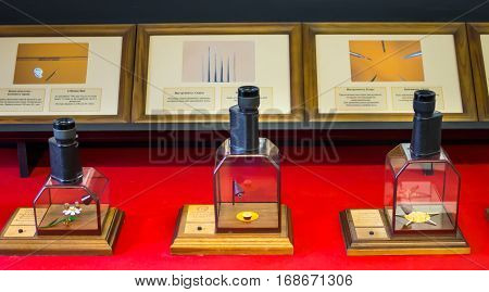 Saint-Petersburg, February 13 2016: Several of eyepieces with the exhibits at the Museum of miniatures
