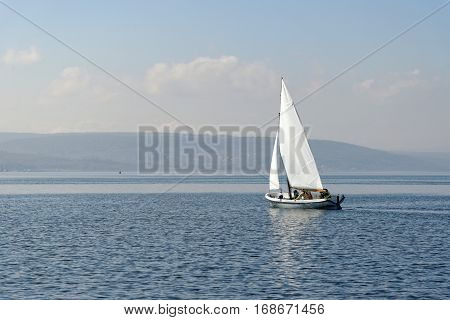 Sailboats regatta sailing in Black sea. No logo.