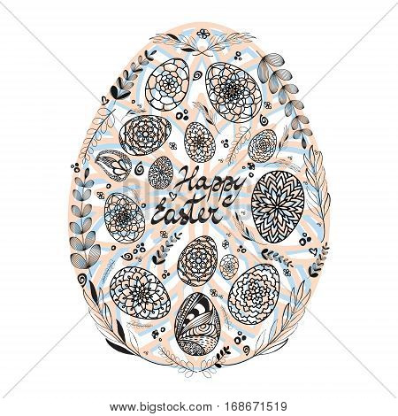 Decorative Card with Big Easter egg which consists of small hand drawn ornamental eggs and floral elements on colored substrate. Doodle style. Stock vector