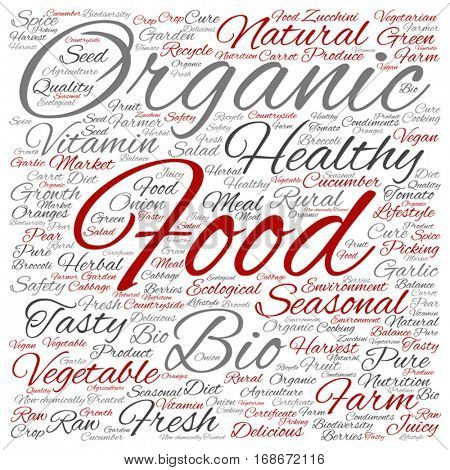 Vector concept or conceptual organic food healthy bio vegetables square word cloud isolated on background metaphor to natural, fresh tasty farm agriculture, certificate ecological garden quality crop