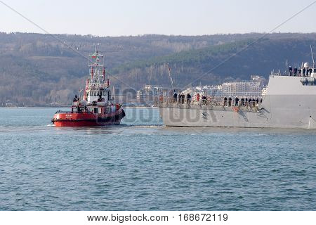 VARNA, BULGARIA - MARCH 13, 2014: The guided-missile destroyer USS Truxtun (DDG-103) enters port of Varna after conducting a combined training in Black Sea with Romanian and Bulgarian naval forces.