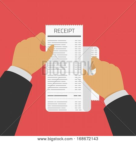 Hand holding Receipt. Businessman hold receipt bill paper flat design on red background. Banking operations, Business and finance concept. Vector illustration in flat style. EPS 10.