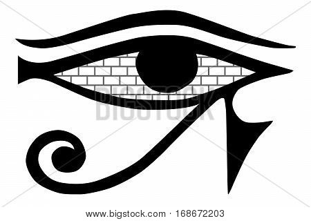 All-seeing eye. Mason sign on a white background. Masonic symbol isolated. Ancient Egypt Eye. Masonry walls in the eye. Vector