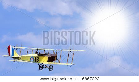 Curtiss Jenny JN4 above the clouds - marking is fictive