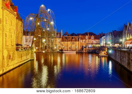 City Canal in medieval Bruges at night. Belgium. Flanders.