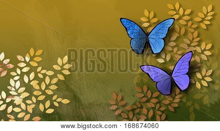 Graphic digital illustration of simple leaves and pair of butterflies against a hand painted textured background