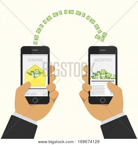 Vector illustration of People sending and receiving money wireless with their mobile phones. Business, finance concept. Hands touching smartphones which sending and receiving money. Payment apps.