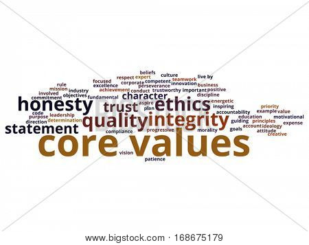 Vector conceptual core values integrity ethics abstract concept word cloud isolated on background metaphor to honesty, quality, trust, statement, character, important, perseverance respect trustworthy
