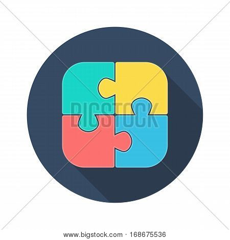 Jigsaw puzzle icon. Puzzle elements sign in flat style with long shadows. Vector illustration EPS10.
