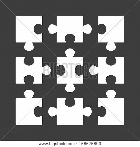 Jigsaw puzzle vector. Simple Puzzle template on 9 elements. Set of blank mosaic isolated on black background. Game Elements.