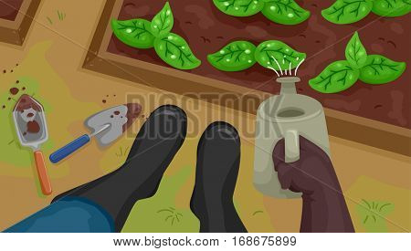 Cropped Illustration Featuring a Gardener in Boots Watering His Plants