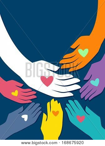 Conceptual Illustration Featuring Hands of Different Colors with Heart Shaped Marks Gathered Together