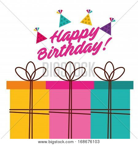 happy birthday celebration card with gifts vector illustration design