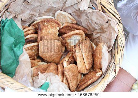 Basket of artisanal baked bread for sale in Peru