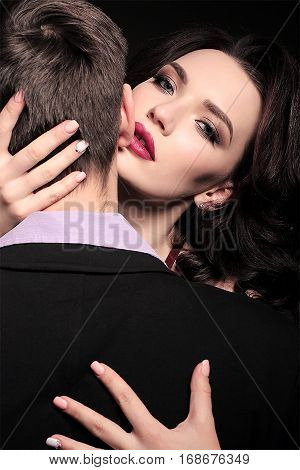 Fashion Studio Photo Of Lovely Impassioned Couple In Elegant Outfit