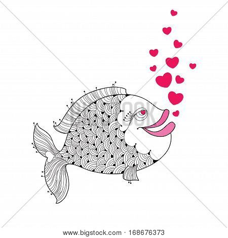 Cartoon fish with pink lips and red bubbles like heart isolated on white background. Cartoon elements in contour style for Valentine day and coloring book.