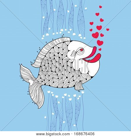 Vector cartoon fish with smiling lips and pink bubbles like heart on the blue background. Cartoon elements in contour style for Valentine day.
