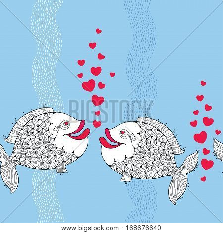 Vector seamless pattern with cartoon fishes couple in love and red bubbles like heart on the blue background with stripes. Cartoon background for Valentine day.
