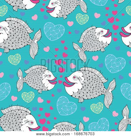 Vector seamless with cartoon fishes, pink bubbles like heart and hearts on the turquoise background.  Cartoon background for Valentine day.