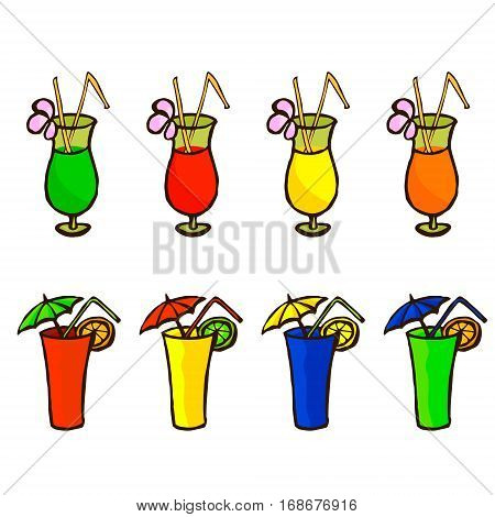 Set of tropical cocktails in glass, two types, with umbrella, flower and straw poll. Vector illustration isolated on white