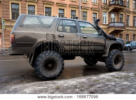 Saint-Petersburg, Russia - March 06 2016: Tuned SUV car standing on the street of St. Petersburg