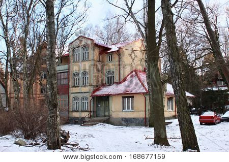 Old former german building in famous russian sea resort Svetlogorsk (Rauschen) at winter. Kaliningrad region Russia.