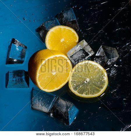 Freshness orange and cristal cube of ice for preparation of