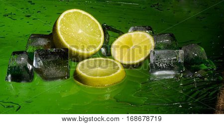 Freshness lemon and cristal cube of ice for preparation of