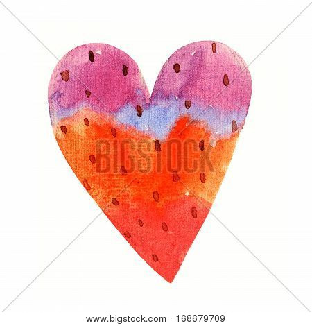 Lovely Cartoon Watercolor love heart valentines pattern. Colorful pink gradient heart illustrations isolated on white background. Perfect for valentines holiday. Good for love card valentine day congratulation design.
