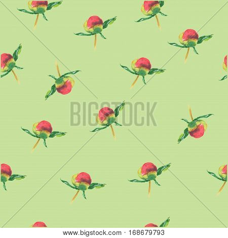Pink Peony Bud On Green Background. Seamless Watercolor Pattern