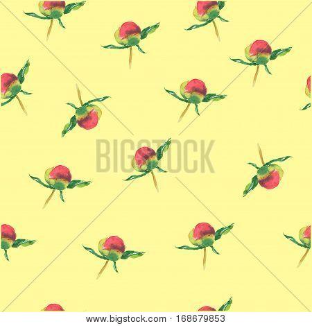 Pink Peony Bud On Yellow Background. Seamless Watercolor Pattern