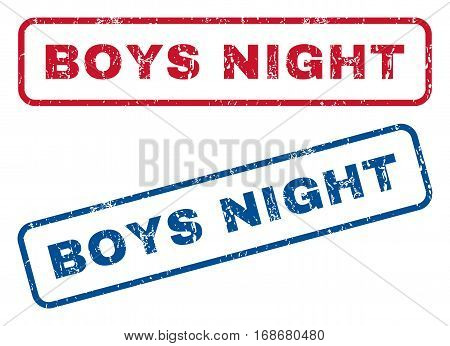 Boys Night text rubber seal stamp watermarks. Vector style is blue and red ink tag inside rounded rectangular banner. Grunge design and scratched texture. Blue and red signs.