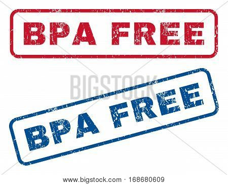 Bpa Free text rubber seal stamp watermarks. Vector style is blue and red ink tag inside rounded rectangular shape. Grunge design and dust texture. Blue and red stickers.