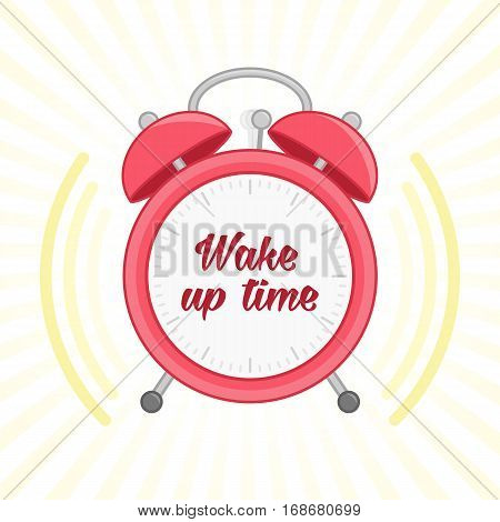 Alarm clock. Wake up vector poster concept. Red alarm Clock vector illustration. Wake-up time in school and at work. Flat icon in cartoon style.