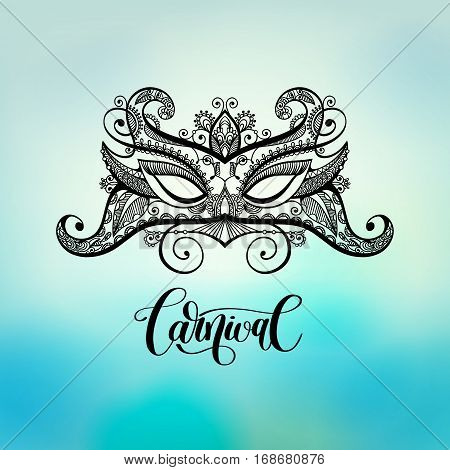 black lineart venetian carnival mask silhouette on blured background, vector illustration eps10