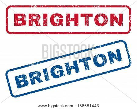 Brighton text rubber seal stamp watermarks. Vector style is blue and red ink tag inside rounded rectangular shape. Grunge design and scratched texture. Blue and red signs.