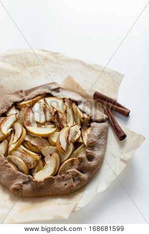 Apple galette pie tart with cinnamon for breakfast