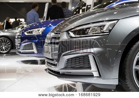 BRUSSELS - JAN 19 2017: New Audi cars on display at the Brussels Motor Show.