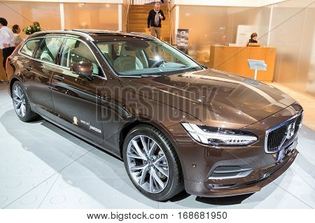 BRUSSELS - JAN 19 2017: Volvo V90 car on display at the Brussels Motor Show.